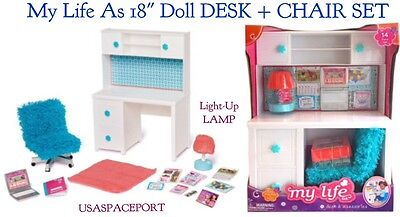 """My Life As DESK and CHAIR 18"""" American Girl Doll BLUE Living Bed Room Office Set"""