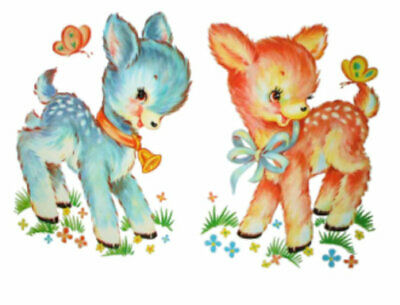 Vintage Image Baby Blue and Pink Deer Fawns Transfers Waterslide Decals AN510