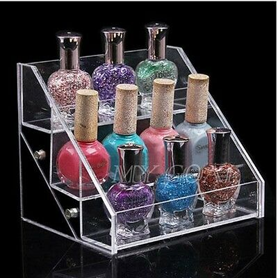 3 Tiers Clear Acrylic Nail Polish Display Stand Comestic Makeup Organizer Rack