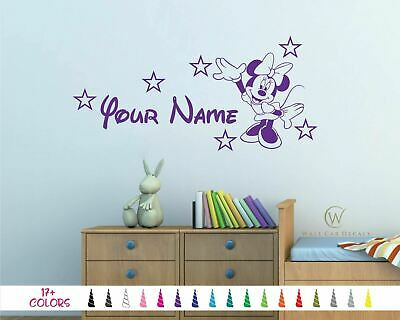 Minnie Mouse Personalize Custom Name Nursery Wall Vinyl Decal Bed Room Sticker B