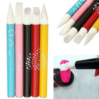 5Pcs Nail Art Silicone Head Brush Clay Sculpture Carving Painting Pen Set