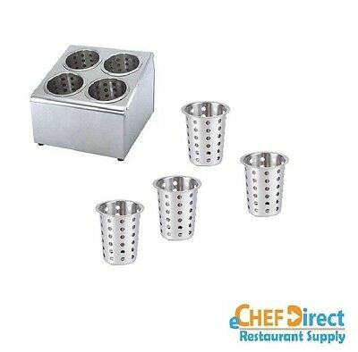 4 Hole Commercial Flatware Utensil Holder w/ 4PCS Stainless Steel Cylinders