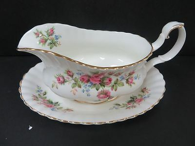 Royal Albert Moss Rose Gravy Boat and Underplate England