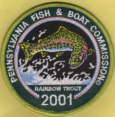 "Pa Pennsylvania Fish Commission NEW 2001 Rainbow Trout Stamp 4"" Fishing Patch"