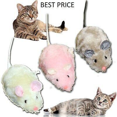 Cat Kitten Play Wind Up Mouse Clockwork Joke Mice /rat Fun Furry Pet Toy Kitty • EUR 4,35