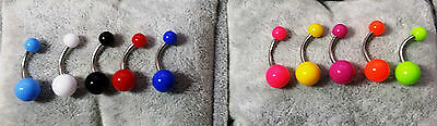 Piercing Ombelico 10 Colori Colours Navel Belly Bars 316L Surgical Steel 1,6 Mm