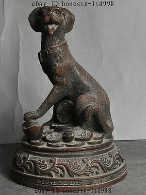 Old Chinese Fengshui Bronze Wealth yuanbao Money Zodiac Animal Dog Lucky Statue