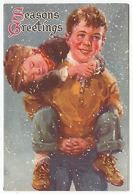 Vintage Greeting Card Christmas Children Boys L12