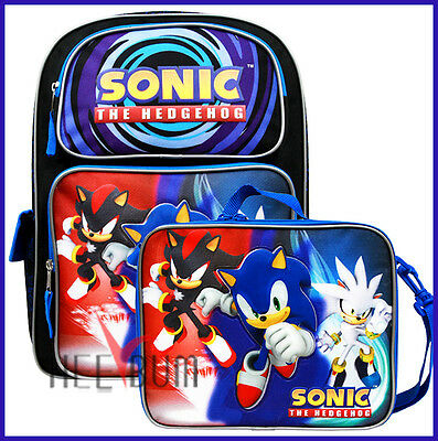 "Sonic The Hedgehog Backpack 16"" And Lunch Bag Set Kid Large School Bag"