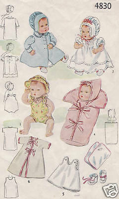 "4830-2537 Vintage Chubby Baby Doll Pattern - Size 7.5-8"" - 1943 WWII"