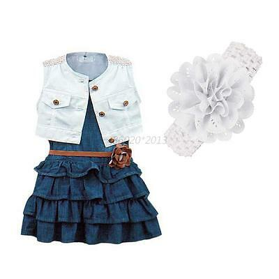 2-7Y 2pcs Girls Kids Baby Summer Demin Dress Party Tutu Skirt Dresses+ Vest Tops
