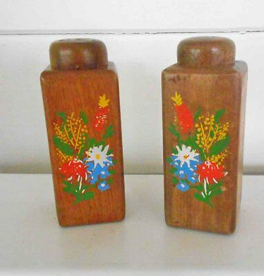 Souvenir Wooden Australian Wildflower Salt & Pepper Shakers - Never Used