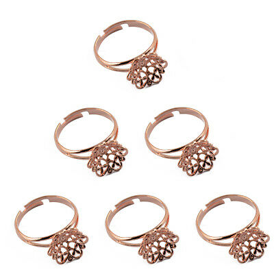 6pcs Adjustable Filigree Flower Cup Base Ring Blank Jewelry Making Craft