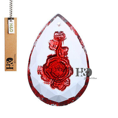 High-grade Carved Red Rose Crystal Lamp Prisms Parts Hanging Pendants Decor 50mm