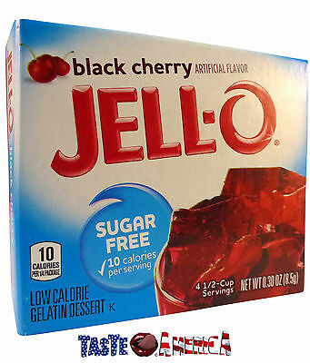 Jell-O Black Cherry Sugar Free Gelatin Dessert Mix Jello 8.5g Jelly