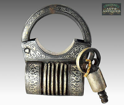 Rare Antique Collectible Indian Silver Hand Inlay Work Screw Type Padlock.G2-165