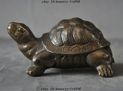Old Chinese Folk Fengshui Bronze Longevity lucky Animal Turtle Tortoise Statue