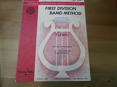 First Division Band Course C Flute Part One Belwin Mills 1962 by Fred Weber