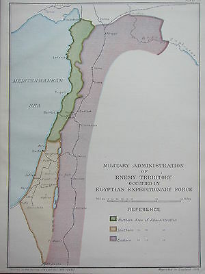 Ww1 Map Egyptian Expedition Force Military Administration Enemy Territory 1918