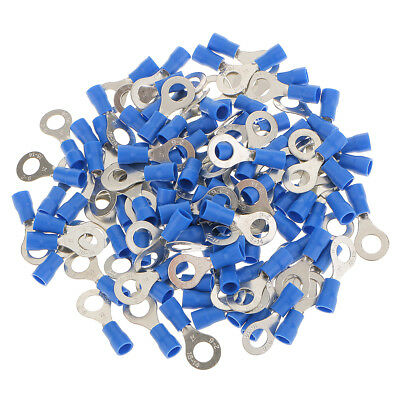 100x Blue Insulated Wiring Ring Electrical Connector Terminals Hole 6.4mm