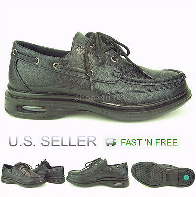 Men's Restaurant Oil Resistant Kitchen Work Shoes Lace up Boat Pu Non-Slip Black