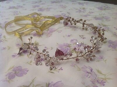 NWOT bridal halo Headband with faux beads, crystal and pearl