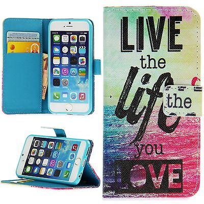 Flip Schutz Handy Hülle Cover Kartenfach Case Klapp Etui Motiv Live The Life You