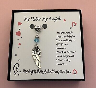 My Sister My Angel Guardian Angel Gift Boxed Charm Necklace Free