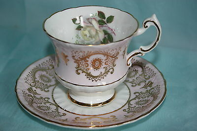 Lovely Vintage Paragon fine bone china cup saucer set-Pink/Gold w/White Roses