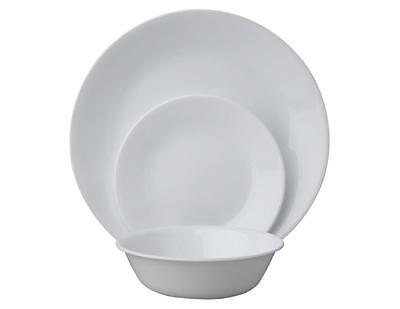 12pc Corelle WINTER FROST WHITE DINNERWARE SET Dinner Bread Plates 18-oz Bowls
