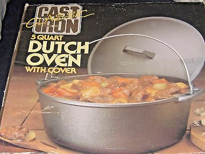 Cast Iron Classic 5 Quart Dutch Oven With Lids New In Box Great For Campfires