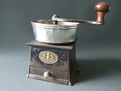 Antique coffee grinder mill cast iron silver plate flag monogram Kenrick & Sons