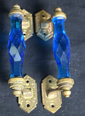 Pair of Vintage Highly Decorative Victorian Cut Glass Blue Door Handle. G73-51