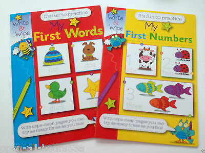 2 x Write & Wipe Clean Books My First Numbers My First Words Pre School Book 3+