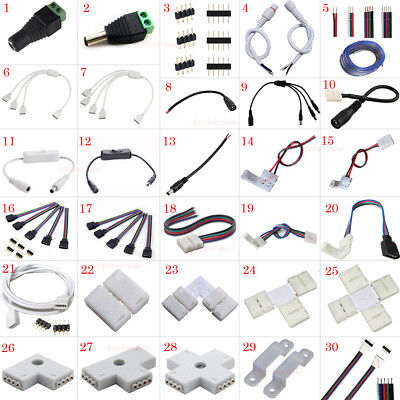 LED Strip Light Connector Adapter Cable PCB Clip Solderless 3528 5050 5630 RGB