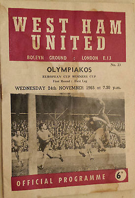 1965/66 EUROPEAN CUP WINNERS CUP - WEST HAM v OLYMPIAKOS - First Round 1st Leg