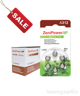 Box of ZeniPower Hearing Aid Batteries A312 (size 312) MF (60 cells)