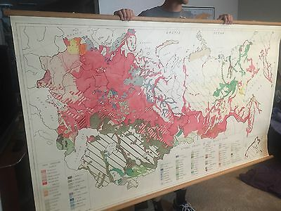 Large RARE Antique Canvas Wall Map of Ethnic Groups of Soviet Union- 1956/1957