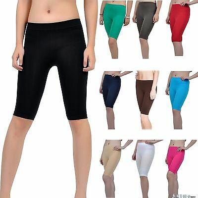 Seamless Stretch Bike Shorts Solid Colors Spandex Knee Length Legging Yoga Sport