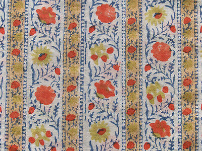 Hand Printed Cotton 2½ Yards. Historic Reproduction  Block Print India Fabric