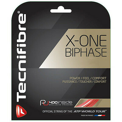Tecnifibre X-ONE BIPHASE Tennis String - 12m - 1.30mm/16G - Red - Free UK P&P