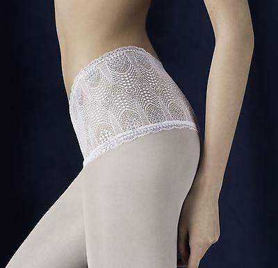 Fiore Pearl Lace Top Tights with Silver Thread Bridal Wedding 40 Denier New