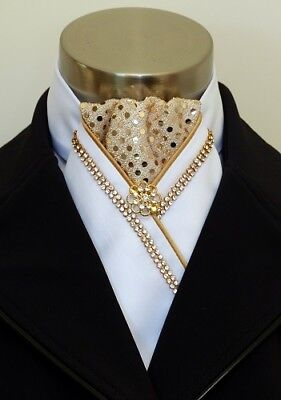 """ERA """"Vanessa"""" White Satin Stock Tie - Gold Sequins - Crystals Piping & Gold Pin"""