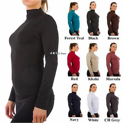 Women Mock Neck Long Sleeve Shirt Turtleneck Top Stretch Slim Fit Tee Shirt