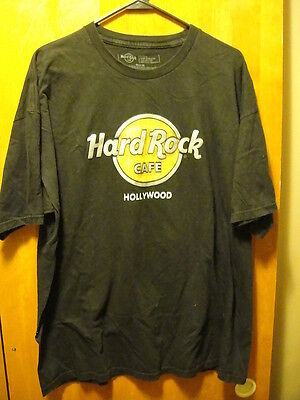 HARD ROCK CAFE ~ XL ~ Hollywood California ~ Raised Lettering Black T Shirt