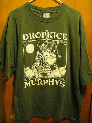 DROPKICK MURPHYS ~ 2XL ~ VTG Fields of Athenry ~ Skull Bagpipes US MADE T Shirt