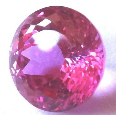 Top Synthetic Hot Pink Sapphire Double Round Brilliant cut, sizes 8 - 10 mm