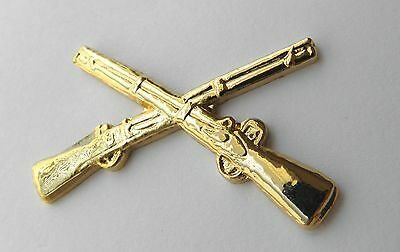 Us Army Infantry Crossed Rifles Large Lapel Hat Pin Badge 1.75 Inches