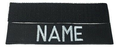 BLACK Custom NAME TAPE with Fastener, US ARMY USAF MARINES POLICE Military Tape