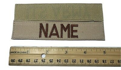 Desert Tan Custom NAME TAPE with Fastener, US ARMY USAF MARINES POLICE Military